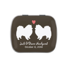 American Eskimo Dogs Wedding With Custom Text Jelly Belly Candy Tins at Zazzle