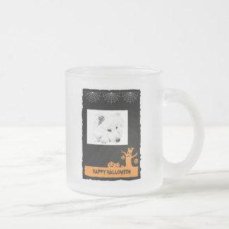 American Eskimo Halloween Frosted Glass Coffee Mug