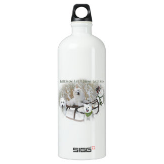 American Eskimo Let It Snow Aluminum Water Bottle