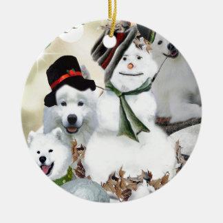 American Eskimo Let It Snow Ceramic Ornament