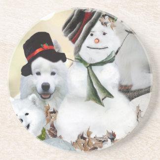 American Eskimo Let It Snow Drink Coaster