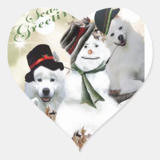 American Eskimo Let It Snow Heart Sticker