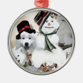 American Eskimo Let It Snow Metal Ornament