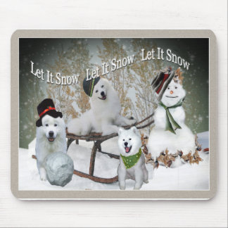 American Eskimo Let It Snow Mouse Pad
