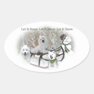 American Eskimo Let It Snow Oval Sticker