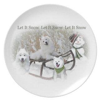 American Eskimo Let It Snow Plate