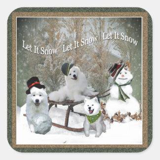 American Eskimo Let It Snow Square Sticker