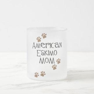 American Eskimo Mom Frosted Glass Coffee Mug