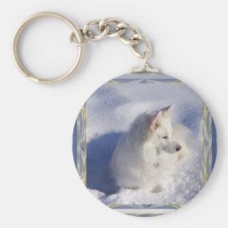 American Eskimo Ornament Frame Keychain