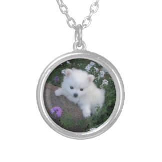 American Eskimo Puppy Dog Silver Plated Necklace