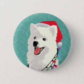American Eskimo Samoyed Cute Puppy Dog Christmas Pinback Button