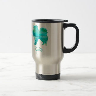 American Eskimo Watercolor Design Travel Mug