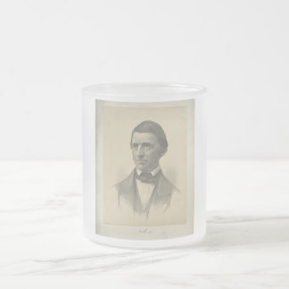 American Essayist Ralph Waldo Emerson Portrait Frosted Glass Coffee Mug