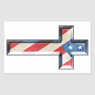 American Faith Cross Rectangular Sticker