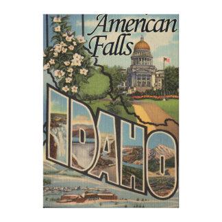 American Falls, Idaho - Large Letter Scenes Canvas Print