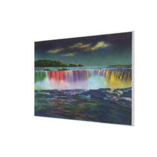 American Falls Illuminated at Night during Winte Canvas Print
