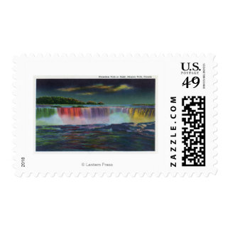 American Falls Illuminated at Night during Winte Postage