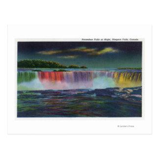 American Falls Illuminated at Night during Winte Postcard