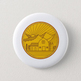 American Farm Barn House Mountain Circle Mono Line Pinback Button