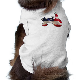 American Farm Dog Man on Tractor US Flag Pet Tshirt