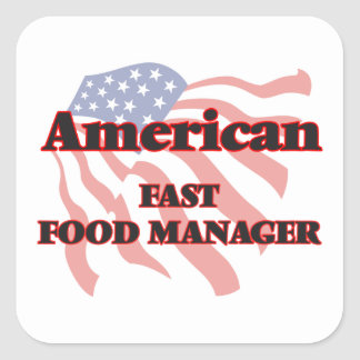 American Fast Food Manager Square Sticker