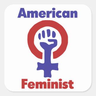 American Feminist Square Sticker