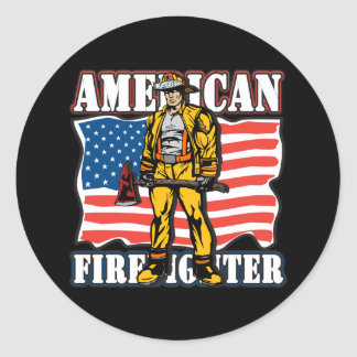 American Firefighter Classic Round Sticker