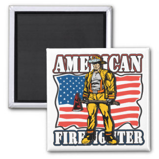 American Firefighter 2 Inch Square Magnet