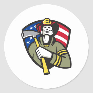 American Fireman Firefighter Emergency Worker Classic Round Sticker