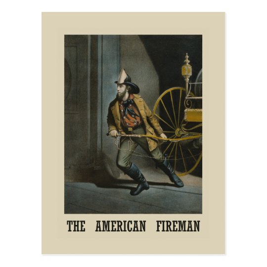 American fireman Postcard
