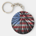 American Fireworks Flag Basic Round Button Keychain