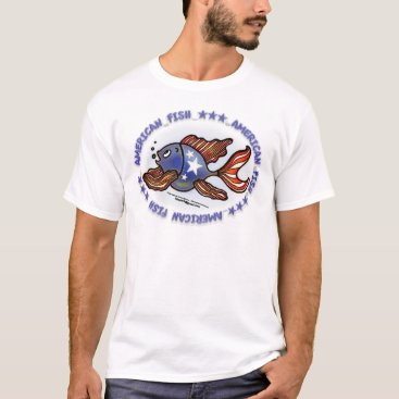 USA Themed AMERICAN FISH, RED WHITE BLUE FISH T-Shirt