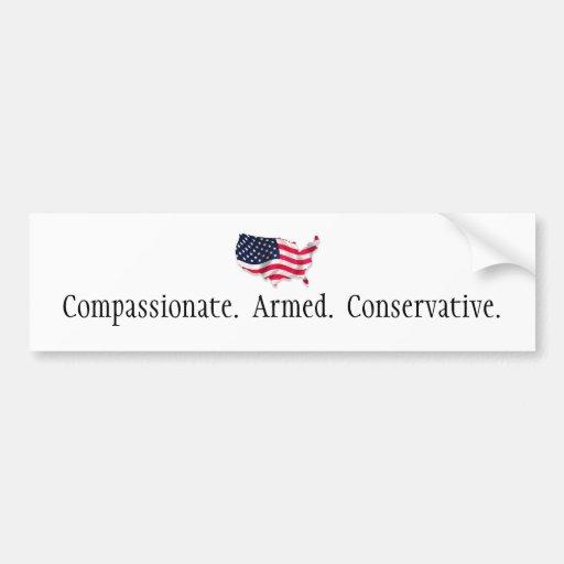 american flag2, Compassionate.  Armed.  Conserv... Car Bumper Sticker