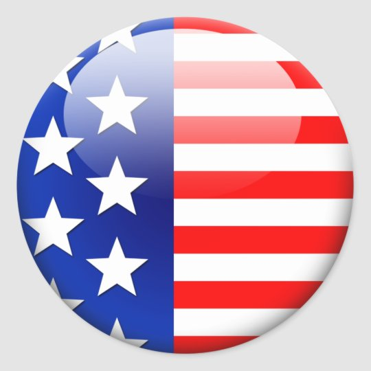 American flag 2 0 classic round sticker
