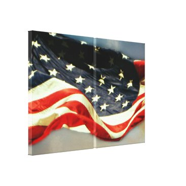 USA Themed American Flag 2-Panel Wrapped Canvas Print