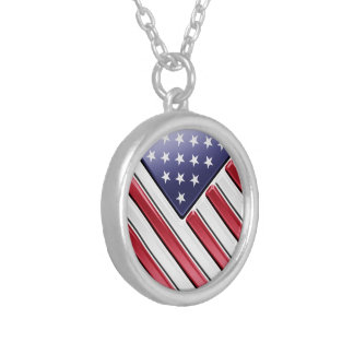 American Flag 2 - USA - Metallic Personalized Necklace
