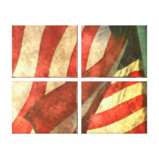 American Flag (4 panels) Wrapped Canvas