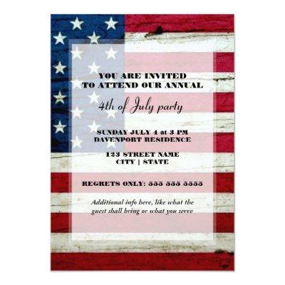 All American 4th of July BBQ Party Invitation Zazzlecom