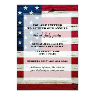 American Flag 4th Of July Party Invite at Zazzle