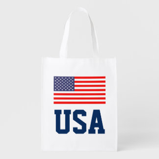 American flag 4th of July reusable shopping bag
