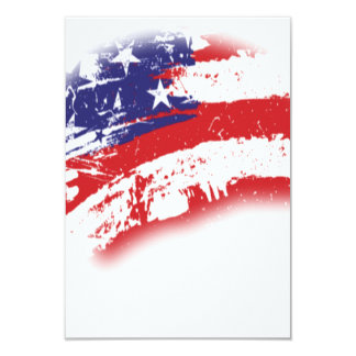 American Flag Abstract Distressed 3.5x5 Paper Invitation Card