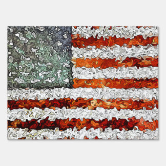 American Flag Abstract Lawn Sign