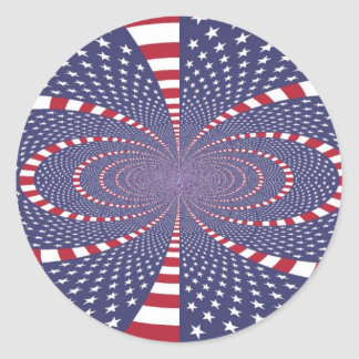 American Flag Abstract Round Stickers