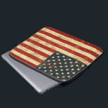 "American Flag Aged Distressed Laptop Sleeve<br><div class=""desc"">A patriotic red,  white and blue stars and stripes old glory USA FLAG grungy distressed vintage aged design sleeve for your gear</div>"