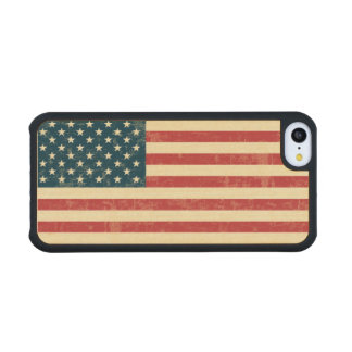 American Flag Aged Faded Carved® Maple iPhone 5C Case