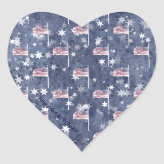American Flag Aglow, star spangled pattern Heart Sticker