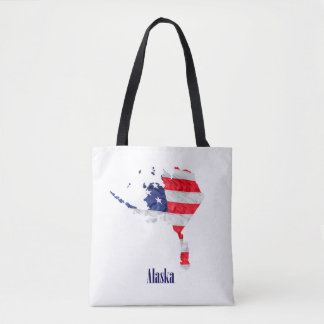American Flag Alaska United States Tote Bag