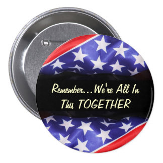 American Flag All In This Together Button