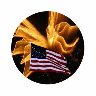 American Flag and Angel Fireworks Cutout