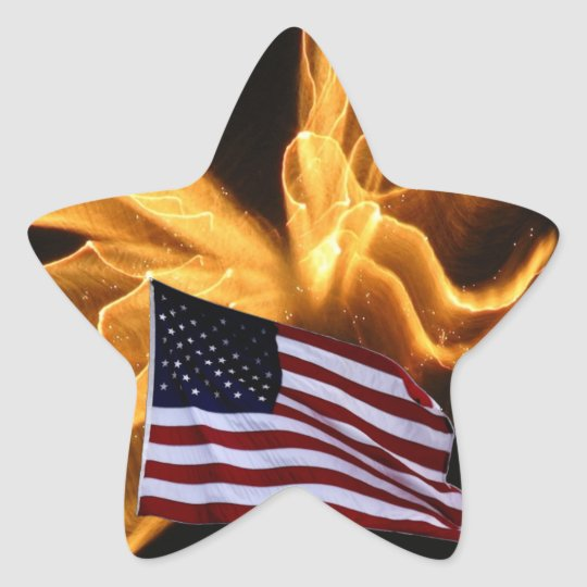 American Flag and Angel Fireworks Star Sticker